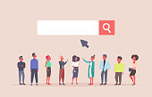 business people team over web search bar online internet browsing concept website development flat horizontal vector illustration
