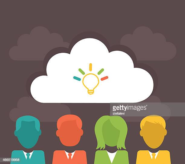Business People thinking and  cloud  computing