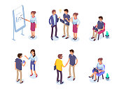 Business people character set. Flat isometric vector illustration isolated on white background.