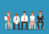 Business people waiting for job interview. Human Resources and Recruitment Job Concept