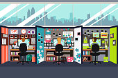A vector illustration of Business People Working in Office Cubicles