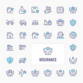 Business & personal insurance - thin line website, application & presentation icon. simple and minimal vector icon and illustration collection.