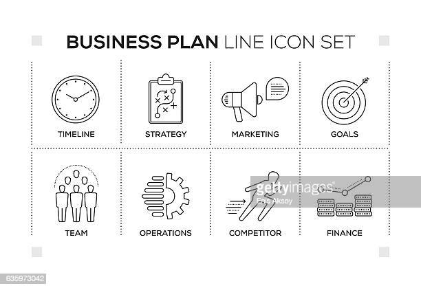 Business Plan keywords with monochrome line icons