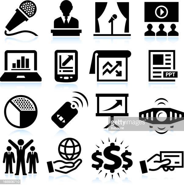 Presentazione d'affari nero & bianco set di icone vettoriali royalty-free