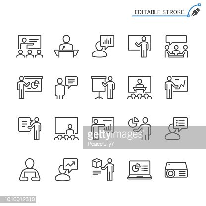 Business presentation line icons. Editable stroke. Pixel perfect. : stock vector