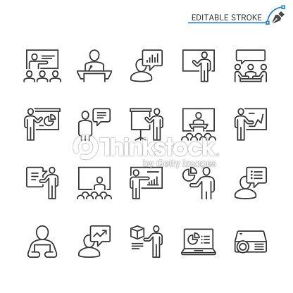 ビジネス プレゼンテーションの線のアイコン。編集可能なストローク。ピクセル完璧。 : ベクトルアート