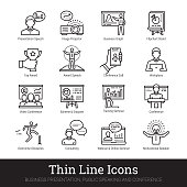 Business presentation, leadership, public training and motivational speech thin line icons. Modern linear illustration concept for web and mobile application. Training seminar, conference, lecture spe