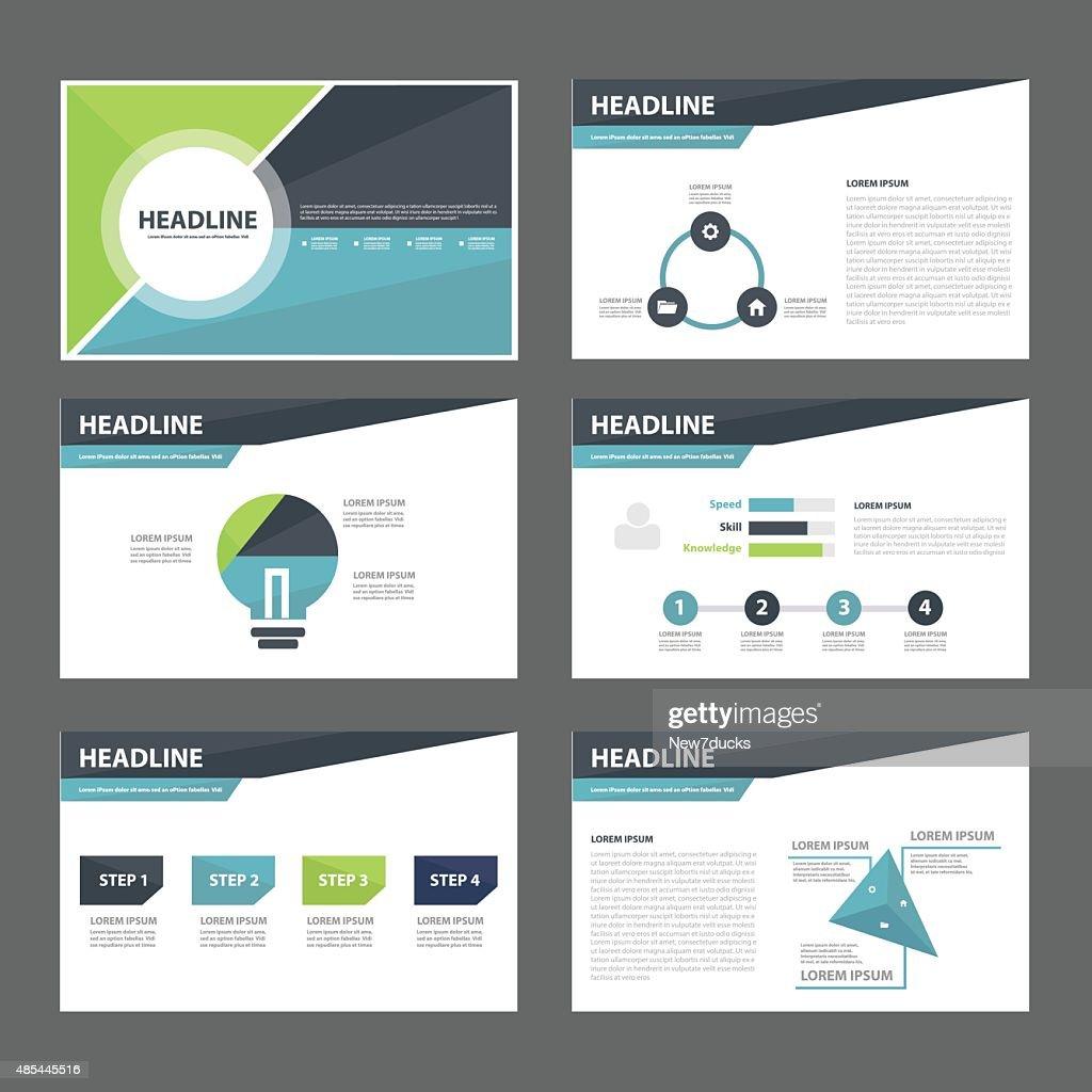 Business Presentation Template Flat Design Set : Vector Art