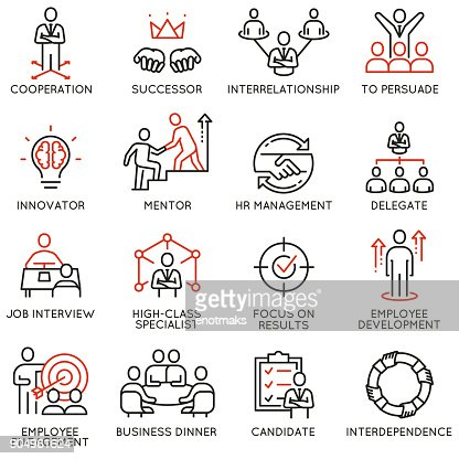 Business process, relationship and human resource management icons : stock vector