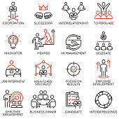 Vector set of linear icons related to business process, relationship and human resource management. Mono line pictograms and infographics design elements