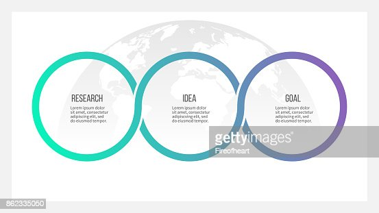 Business process. Timeline infographics with 3 options, circles. Vector template. : stock vector