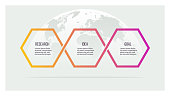 Business process. Timeline infographics with 3 options. Vector template.