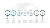 Business process. Timeline infographics with 7 steps, options, arrows. Vector template.