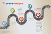 Business road map timeline infographic icon designed for abstract background template milestone element modern diagram process technology digital marketing data presentation chart Vector illustration