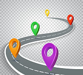 Business roadmap 3d pointers on transparent background. Abstract road with pins vector illustration. Business map with navigation color marker