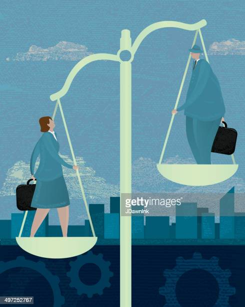 Business scales inequality concept with business woman and man