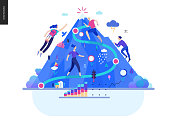 Business series, color 2- career -modern flat vector illustration concept of career - people climbing the mountain. Climbing up the career ladder process metaphor Creative landing page design template