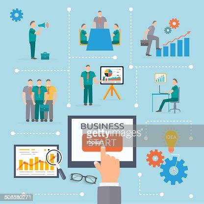 Commencez infographie modèle d'affaires : Clipart vectoriel