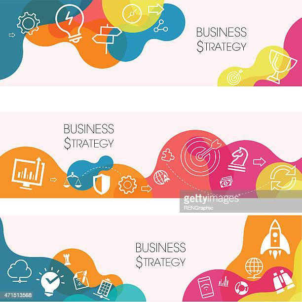 Business strategy banners with bright colors and icons
