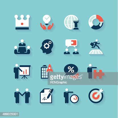 Business Strategy Icon Set Concise Series Vector Art | Getty Images