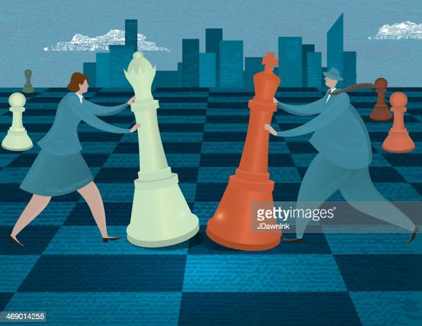 Business strategy or risk concept - Business people on chessboard