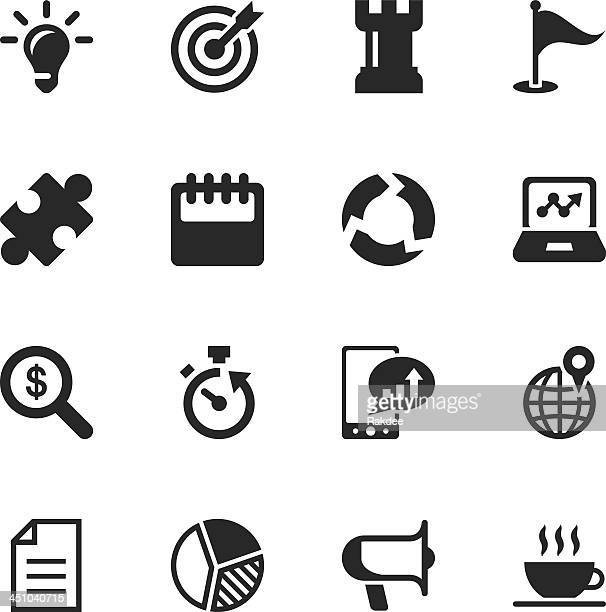 Silhouette e icone di strategia aziendale