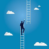 Vector illustration. Business target concept. Businessman climbing high ladder in the sky to reach the next level of of success in future