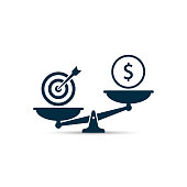 Business Target vs money on scales illustration. Vector business concept.