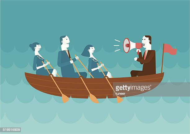 Business Team Rowing Boat | New Business Concept