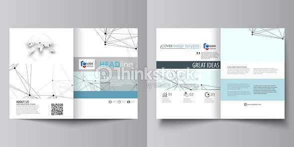 Business Templates For Bi Fold Brochure Flyer Report Cover Design Template Vector Layout In A4 Size Chemistry Pattern Connecting Lines And Dots
