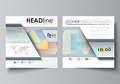 Business templates for square design brochure, magazine, flyer, booklet or annual report. Leaflet cover, abstract flat layout, easy editable vector. Minimalistic design with lines, geometric shapes fo