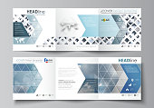 Set of business templates for tri fold brochures. Square design. Leaflet cover, abstract flat layout, easy editable vector. Blue color pattern with rhombuses, abstract design geometrical vector backgr