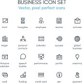 Business theme line icon set. Pixel perfect fully editable vector icon set suitable for websites, info graphics and print media.