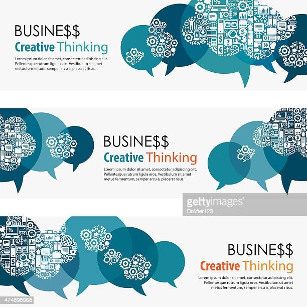 Business denken Banner und Icon-Set
