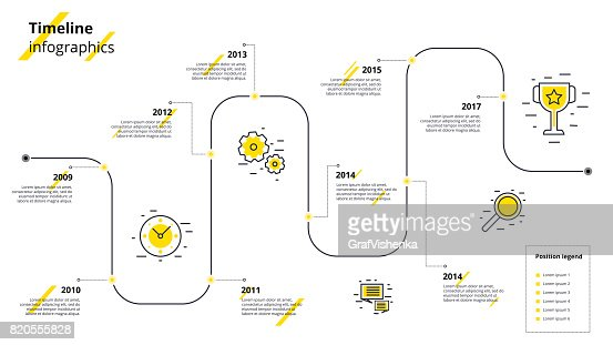 Business timeline workflow infographics. Corporate milestones graphic elements. Company presentation slide template with year periods. Modern vector history time line design. : stock vector