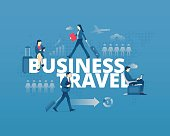 Visual metaphor of world business trip. Men and women faceless characters in action around word BUSINESS TRAVEL. Vector illustration isolated on blue background