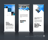 Business vector set of modern roll Up Banner stand design with blue arrows, triangles, squares, lines, rounds for IT, business, building. Exhibition, fair, show. Abstract creative art.