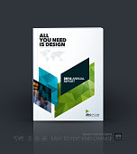 Business vector template. Brochure design, cover modern layout annual report, poster, flyer in A4 with blue diagonal abstract shapes for construction, teamwork theme with texture background.