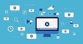 flat vector for  business video marketing content online concept and digital marketing content and social network connection concept