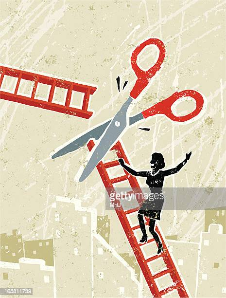 Business Woman and Corporate Ladder with Scissors