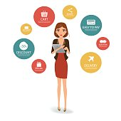 Business woman character shopping online with tablet. Online marketting.