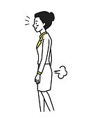 Business woman farting make a bad smell and stinks. Funny cartoon illustration, outline hand draw sketching style.