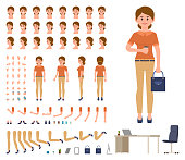 Business woman in casual office look character creation set. Cartoon style manager constructor kit
