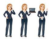 Smiling woman full length, dress code. Flat design, vector cartoon illustration