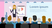 Business Woman Leading Presentation Or Conference Report On Team Meeting Over Background With Copy Space Flat Vector Illustration