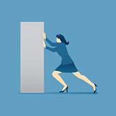 Business illustration of business woman character pushing heavy cupboard. Vector business concept for banners, info graphics or landing pages of website