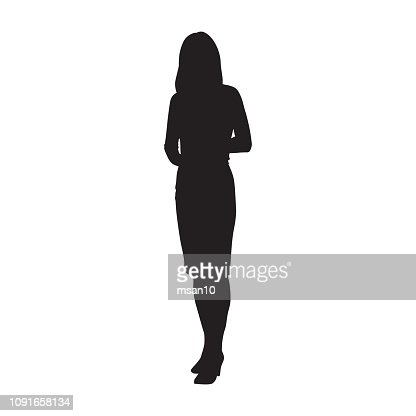 Business woman standing, isolated vector silhouette : arte vetorial