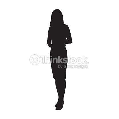 Business woman standing, isolated vector silhouette : stock vector