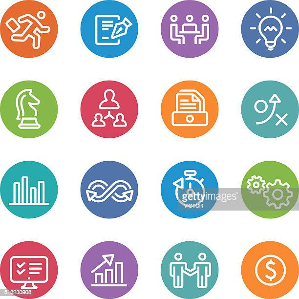 Business Workflow Icons - Circle Line Series