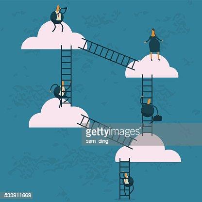 Business,Cloud, technology, stairs, climbing